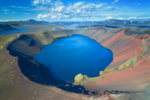 Ljotipollur, mountains, crater lake, volcano, highlands, view, aerial view, Iceland, Europe