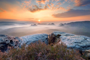 Sunrise, fog, Kleiner Winterberg, Saxon Switzerland, highlands, Germany, Europe
