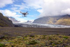 Glacier, drone, mountains, glacier tongue, aerial view, Skaftafelljökull, Iceland, Europe