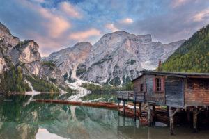 Lake, mountains, hut, sunset, Pragser Wildsee, Braies, Bolzano, Italy, Europe
