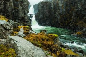 Waterfall in Austurland, Iceland