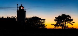 Lighthouse Westermarkelsdorf on the island Fehmarn after sunset