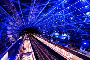 Illumination while opening the subway station 'Elbe bridge', Hamburg