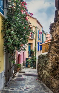 Village alley in Collioure in autumn