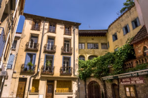 Place Soutine in Céret in spring. Old bishop's house.