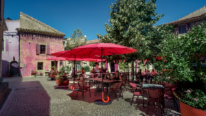 Restaurant in the center of Assignan in summer