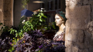 Bust of Marianne in the window of the town hall in Peyriac de Mer. Marianne is the national figure of the French Republic and adorns practically all French town halls as a bust.