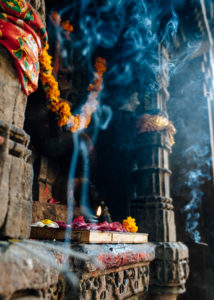 incense stick in a Hindu temple in Ahmedabad