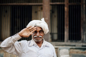 security guard on the camping site in Palitana, India