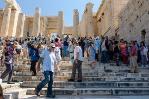 Besucheransturm bei der Akropolis in Athen, Griechenland