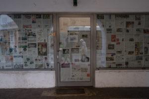 Geschlossenes Geschäft während der Corona Virus Pandemie in Regensburg