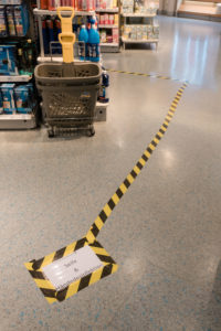 Floor markings in a drug store to find soap disinfectants.