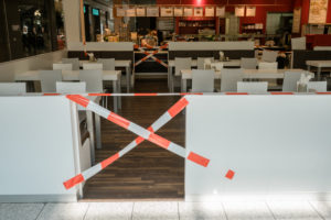 Barrier in a mall during the Covid19 crisis.