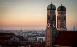 Steeples at sunset, Munich, Germany