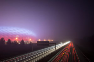 Long time exposure at night, Allianz Arena and highway
