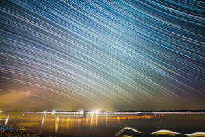 Star trail photography at Lake Starnberg, Germany