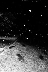 Snowflakes and footprints at night
