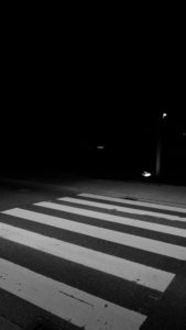 Zebra crossing at night