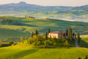Italy, Tuscany, La Crete, Pienza, Farm House, Rolling Hills