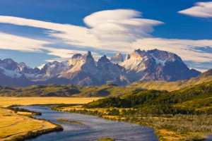 Chile, Magallanes Region, Torres del Paine National Park, Lenticular clouds above the Cuernos del Paine mountains