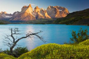 Chile, Magallanes Region, Torres del Paine National Park, Lago Pehoe at Sunrise