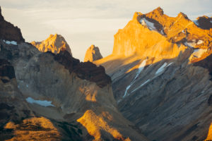 Chile, Magallanes Region, Torres del Paine National Park, Cuernos del Paine mountains