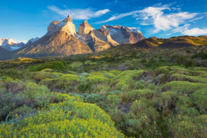 Chile, Magallanes Region, Torres del Paine National Park, Cuernos del Paine mountains