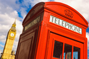 United Kingdom, London, Red Telephone Booth with Big Ben in the Background