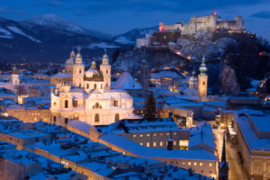 Austria, Salzburg, View of the Historic Center and Hohensalzburg Fortress in winter