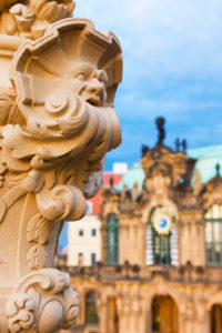 Germany, Saxony, Dresden, Zwinger Palace Museum, close up of statue in the courtyard