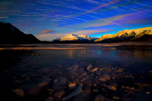 Canada, Alberta, Abraham Lake, Elliot Peak, Night, Star Trails, Bubbles in the Ice