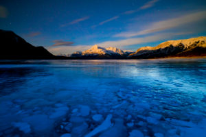 Canada, Alberta, Abraham Lake, Elliot Peak, Night, Stars, Bubbles in the Ice
