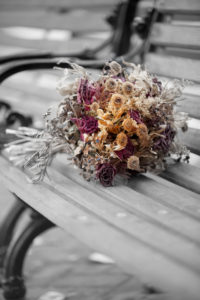 Dried Flower Bouquet, Park Bench