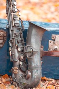 Vintage Saxophone, suitcase