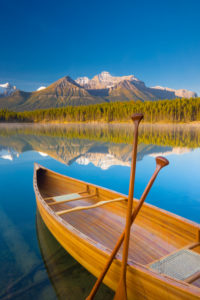 Canada, Alberta, Banff National Park, Herbert Lake, Cedar Strip Canoe