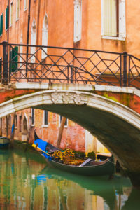 Gondola and Bridge over Canal, Venice, Italy