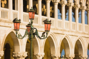 Lamp Post in Saint Mark's Square with the Doge's Palace in the Background,  Venice, Italy