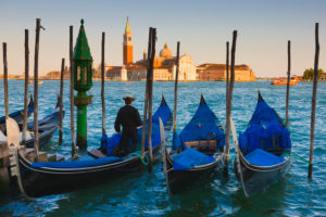 Gondolas with the church of Saint George Major in the background, Venice, Italy