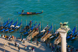 Overview of gondolas moored beside Saint Mark's Square, Venice, Italy