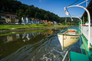 Germany, Saxony, Rathen, Elbe river, paddle steamer, dinghy, detail,