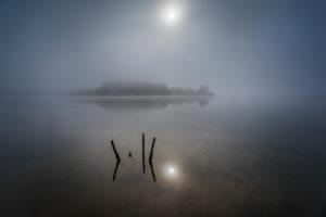 Lake, island, branches, sun, fog,