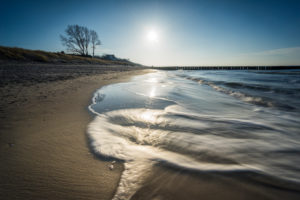 Baltic Sea at evening light and long exposure