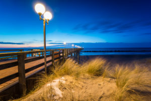 Pier in Wustrow at evening light and long exposure