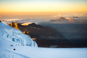 Climber on the Lisgletscher, sunrise, landscape, Monte Rosa, Italy