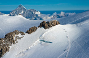 View from the Vincentpyramide, mountaineering groups, Weißhorn, Balmhorn, Monte Rosa, Italy,