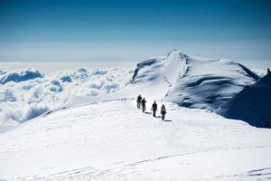 Climbers group on the glacier, Alphubel,  Valais, Switzerland,