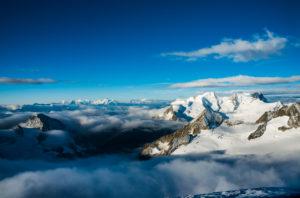 From the summit of the Oberaarhorn, Bernese Alps, Switzerland,