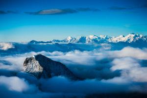 View from summit Oberaarhorn, Bernese Alps, Switzerland,