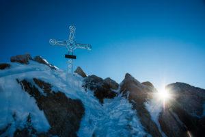 Summit cross Oberaarhorn, Bernese Alps, Switzerland,