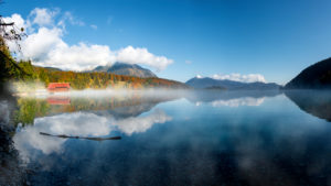 Autumn at Walchensee with Herzogstand and Jochberg, Bavaria, Germany